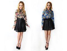 Koszule w kwiaty #mokujin #clothing #fashion #moda #black #koszula #casual #skirt #skóra #flowers #jeans