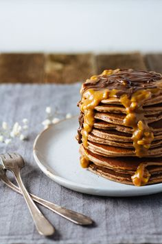 Mocha Peanut Butter Protein Pancakes! Gluten Free and only 4 ingredients!