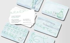 Fun dentist business cards feat. floss, a toothbrush, and mouthwash.
