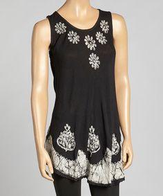 Look at this #zulilyfind! Black & White Daisy Embroidered Tunic by Aqua Blue #zulilyfinds