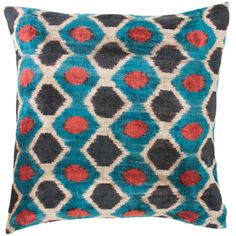 Uzbek Velvet Ikat Blue Decorative Pillow $157.50  While traveling around the world to different countries, I always find amazing textiles from local dealers in different markets. We take the antique textiles and make them into one-of-a-kind pillows. From India, to Uzbekistan to Thailand, each pillow tells a story and shows the craftsmanship of the skilled artisans who made them.