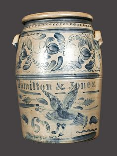 Love the bird... Exceptional HAMILTON & JONES Stoneware Crock w/ One-of-a-Kind Brushed Eagle Decoration -- Lot 408 -- July 20, 2013 Stoneware Auction -- Crocker Farm, Inc.