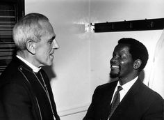 Archbishop Trevor Huddleston and Oliver Tambo, former President of the African National Congress, at the Consultation on Racism in London, 1969. Photo: WCC, courtesy of Have You Heard From Johannesburg (www.clarityfilms.org)