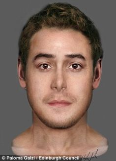 The face of a man who died before his 35th birthday between the mid 16th and mid 17th century was also reconstructed (pictured)