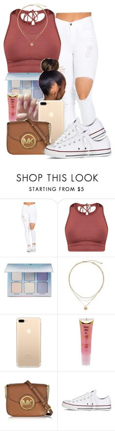 """""""."""" by guwapshawty ❤ liked on Polyvore featuring Anastasia Beverly Hills, Barry M, Michael Kors and Converse"""