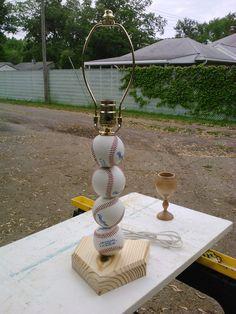 Baseball lamp.  Made with real baseballs.