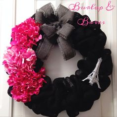 Hey, I found this really awesome Etsy listing at https://www.etsy.com/listing/180151018/black-burlap-paris-theme-wreath