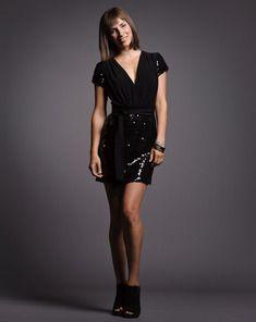 Black Sequin V-Neck Dress with Sash