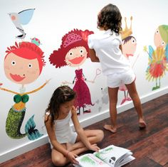 Play dress up with peel & stick fabric wall decals! The girls will LOVE these. No mess for me either!