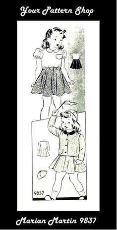 1940s Marian Martin 9837 Girls Blouse Skirt Jacket by patternshop, $14.99