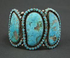 Zuni bracelet - Morenci mine turquoise, by Virgil Dishta