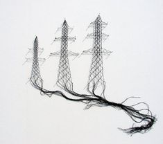 Elodie Antoine | black lace art..Belgian artist Elodie Antoine, is using lace-making techniques to create contemporary artwork that contrasts the delicate and romantic material with more severe industrial imagery.