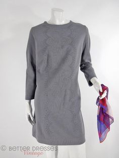 60s Shift Dress in Gray. Mod With Studded Detail  by BeeDeeVintage, $30.00