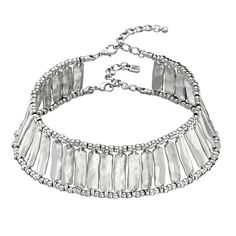Uno de 50 - Rigid silver-plated choker necklace with one by one assembled and combined metal pieces and metal beads. Lock with double string. A groundbreaking jewel with a deep personality handcrafted 100% in Spain.