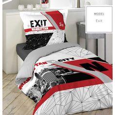 Biele posteľné obliečky s motívom mesta Manhattan a nápismi - domtextilu.