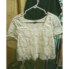 White Crop Top Flower pattern top. Perfect for the spring to pair with jean short or anything! Forever 21 Tops Crop Tops