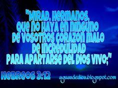 Compartamos la Palabra de Dios: Mirad, hermanos, que no haya en ninguno de vosotro...