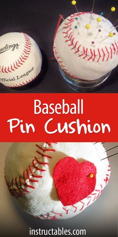 Fascinated by the cross stitching on a regulation baseball, I wanted to duplicate it as a decorative stitch. Here is my baseball pincushion. Cute, isn't it?