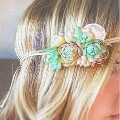 Succulent & Seashell headband