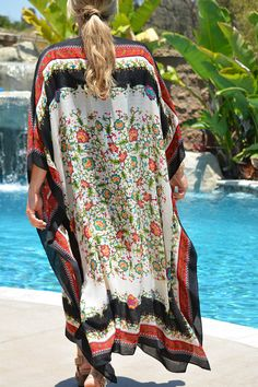 Beautiful floral caftan set off by its black, mixed patterned border, in a soft, cotton poly blend fabric. Non-sheer fabric. Great beach or pool wear or everyday lounging. 51 inches wide and 51 inches long. Unique Resume, Pool Wear, Kaftans, Sheer Fabrics, Evie, Cover Up, Plus Size, Boutique, Beach