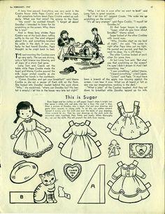 Vintage Antique 1947 Childrens Activities Magazine Uncut Paper Doll THIS IS SUGAR