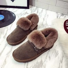 Women Fur Flats Slip on Cotton Winter Shoes Woman Winter Fur Slippers Women Loafers Moccasins Home Shoes