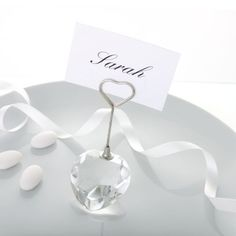 Crystal Heart Shaped Place Card Holder | Wedding Holders