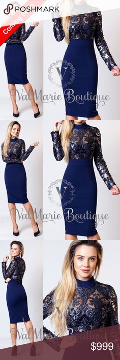 "ARRIVES 11/29 I am IN LOVE with this gorgeous navy blue dress. Features a semi mock neck with a metallic floral lace mesh insert. The back zips up and has a slit in the back for easy movement. length:39"" Dress is  95% Polyester 5% Spandex and the Mesh Lace is: 68% Polyester 24% Nylon, 8% Spandex. Runs fitted and body-con style. Sizes 4-10. Size 2 can also fit into the 4. Arrives 11/29. Price will be $58 ValMarie Dresses Midi"
