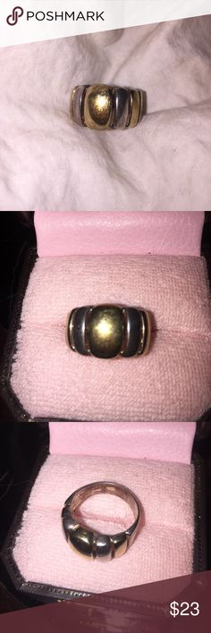 Sterling Gold Italy Gold Cigar Band Ring SZ 8 Vintage Sterling and gold ring. Milor Italy and it is approx size 8. Normal wear as you can see by photos Milor Italy Jewelry Rings