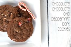 Chocolate Chocolate Chip Peppermint Bark Cookies