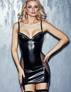 Calabria Wet Look Chemise Set for Sexy Leather Look Lingerie, Fifty Shades Chemise and Sensual Playwear Outfits by available from our online store for next day UK delivery. Sexy Latex, Sexy Outfits, Sexy Photography, Leather Dresses, Wet Look, Sexy Lingerie, Short Dresses, Bodycon Dress, Clothes For Women