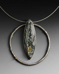 Neckpiece with pyrite in slate