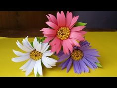 How To Make Aster Flower With Colour Paper !!!! - YouTube