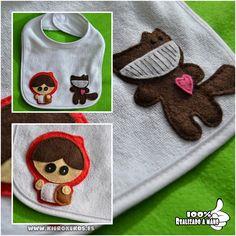Babero realizado en fieltro, personalizable con el nombre del niño.  www.kierokekos.es