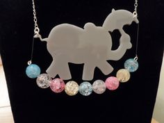 Grey Perspex Elephant Walking Multicoloured Gemstone Necklace On Silver Chain