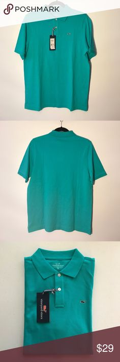 Vineyard Vines 100% cotton Polo Shirt Vineyard Vines Classic Pique Knit Pilo,XL (18) Aqua Blue,NWT Vineyard Vines Shirts & Tops