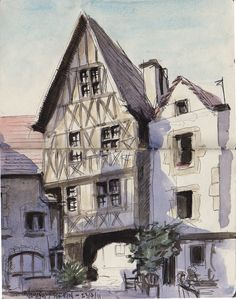 insadrawings: Burgundy - Noyers sur Serein. Victorian London, Burgundy, Cabin, House Styles, Places, Painting, Home Decor, Painted Canvas, Decoration Home