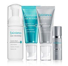 Exuviance Age Reverse Introductory Collection by Exuviance. $73.00. Diminishes the appearance of age spots, fine lines, and wrinkles, rebuilds collagen to help restore firmness and elasticity. During a 12 week clinical study, participants noticed benefits after 4 weeks of twice daily use 100% overall appearance improved, 96% better clarity/radiance. Peptides, Polyhydroxy Acids and NeoGlucosamine rebuild collagen and its surrounding support structure to help res...