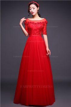 A-Line/Princess Bateau Floor-length Tulle Prom Dress