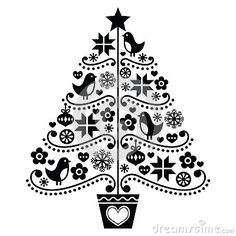 Christmas Tree Design - Folk Style With Birds, Flowers And ...