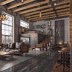 This industrial-inspired loft has a real steampunk feel to it! Love the glass floor panels showing off the pipes!