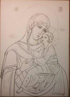 Christian Drawings, Christian Art, Byzantine Icons, Byzantine Art, Religious Icons, Religious Art, Outline Drawings, Art Drawings, Madonna Art