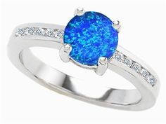 Original Star K™ Round 7mm Created Blue Opal Engagement Ring Style Number: 307841