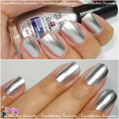 Brinco de festa - Colorama Silver Nail Polish, Metallic Nails, Nail Polish Colors, Opi Nails, Manicure And Pedicure, Colorful Nail Designs, Types Of Nails, Nail Time, Nail Arts