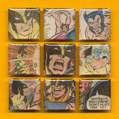"""""""Watch it, Wolverine. Don't hurt him. Yet."""" Set of 9 magnets from 80s X-Men comics."""
