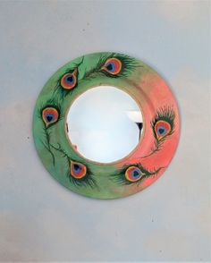 Peacock wall decor, Decorative hand painted mirror, Round bedroom mirror, shabby gypsy style, Functional art decor, hand painted mirror Peacock Wall Decor, Wall Art Decor, Shabby Cottage, Cottage Chic, Small Wall Mirrors, Shabby Chic Wall Decor, Peach And Green, Mirror Painting, Bohemian Art