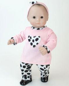 "Amazon.com: 15"" Doll Clothing Outfit 3 Pc. Set. Dalmatian Print Pants, Pink Shirt & Matching Headband Fits 15 Inch American Girl Bitty Baby ..."