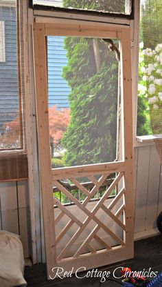 DIY Wood Screen Door Tutorial – Red Cottage Chronicles – farmhouse front door with screen Painted Screen Doors, Metal Screen Doors, Front Door With Screen, Diy Screen Door, Sliding Screen Doors, Wooden Screen, Front Doors, Screened Porch Doors, Screened Gazebo