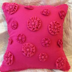 "15"" Hot Pink Cushion with Suffolk Puff / Yoyo detail and matching pink trim. Etsy."
