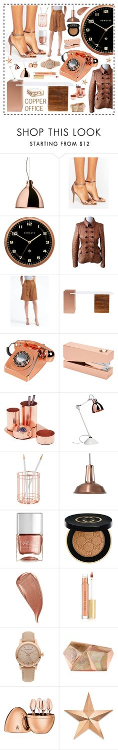 """Copper office"" by beanpod ❤ liked on Polyvore featuring Ghidini 1961, Glamorous, Newgate, Burberry, Banana Republic, Wild & Wolf, Tom Dixon, Hare & Wilde, Nails Inc. and Gucci"